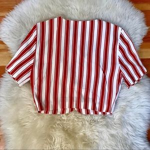 Wrapper Tops - Vintage 50s candy red & white striped crop top